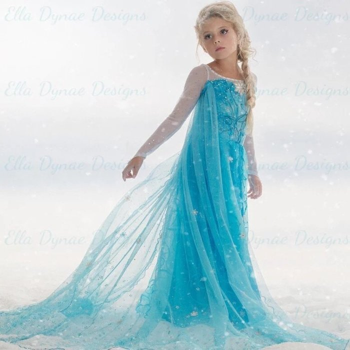 冰雪奇緣現貨愛紗艾莎elsa超優質感女童萬聖節服裝連身裙禮服公主裙紗披風可拆 現貨--崴崴安兒童館