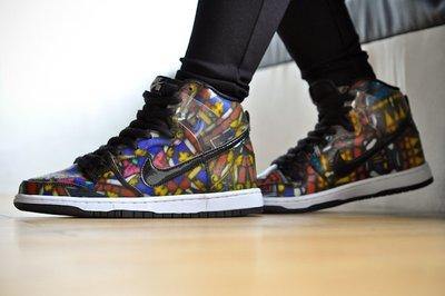 "Nike SB Dunk High ""Stained Glass&quot""彩色玻璃""經典復古 高筒 滑板鞋 313171-606 男鞋"