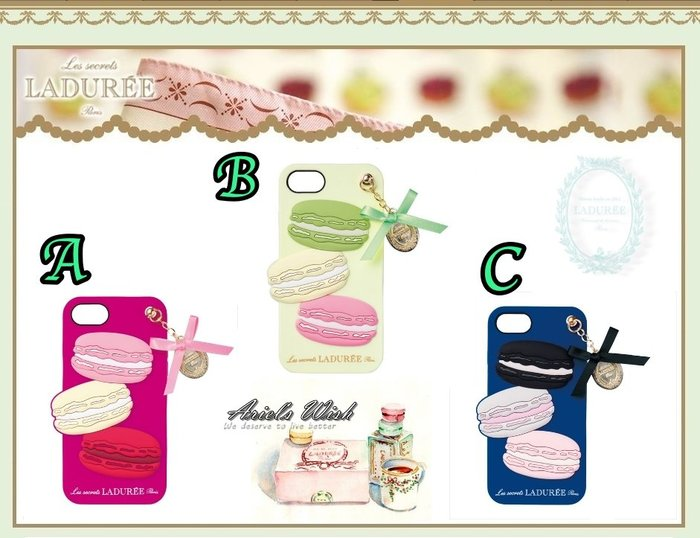 Ariel Wish預購日本Laduree馬卡龍iphone 6 6s 7 8手機殼保護殼保護套附蝴蝶結緞帶金牌吊飾三色