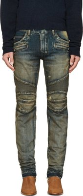 [ 羅崴森林 ]現貨6折BALMAIN FW1415新品 藍修身仿舊水洗騎士牛仔褲31