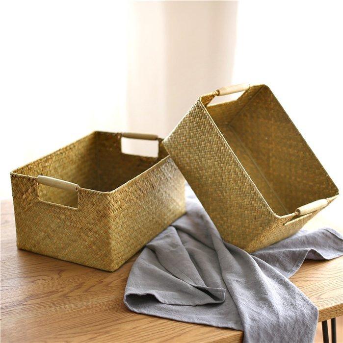 復古海草編織長方形收納盒藤編竹編草編廚房浴室編制籃衣柜收納筐