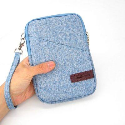 【GooMea】3免運 Huawei華為麥芒 6 5.9吋 手機套 亞麻布 拉鍊款 手拿 斜背 淺藍