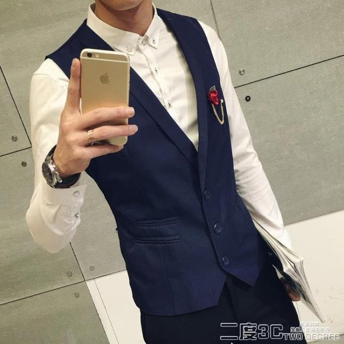 西服背心 新款休閒西裝小背心短款純色韓版修身定制酒吧工作西服潮男裝 「新時代家居」