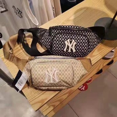 NeCo's*韓國MLB 正品~紐約洋基隊 經典緹花logo NY腰包/胸包/斜背包(gucci類似款