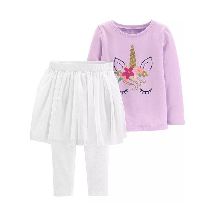 【Carter's】CS女童W紫小馬T+白紗褲裙 F03190828-06