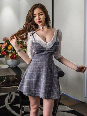 加大碼2020春款女裝格子小清新a字裙顯瘦減齡性感假兩件連衣裙