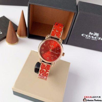美國大媽代購 COACH 寇馳 經典品牌LOGO 紅色手鐲手錶 原裝正品 美國代購