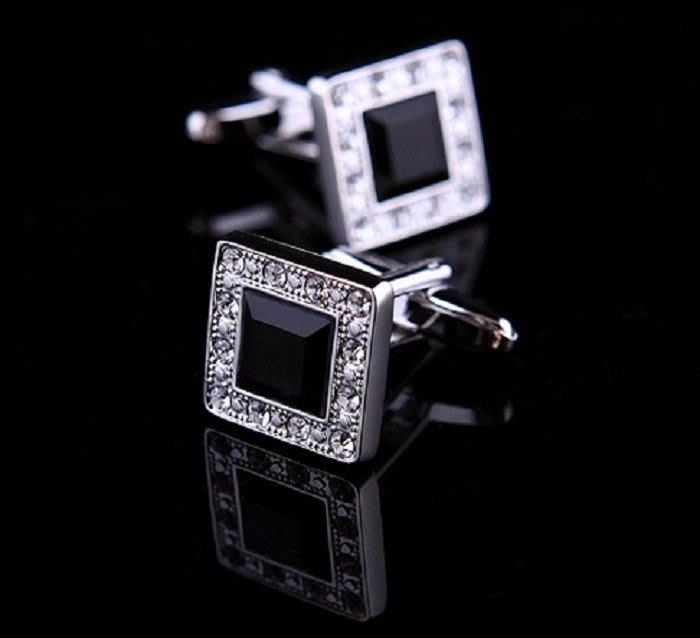 璀璨黑星光 正方形法式奥地利水晶袖扣 Z80