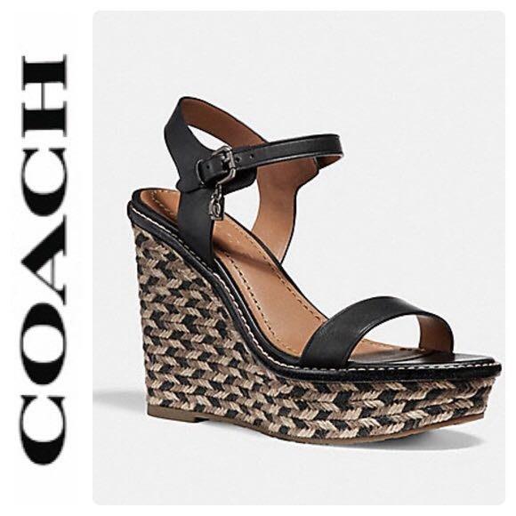 COACH  FG2110專櫃款 黑色單帶厚底高跟楔型涼鞋