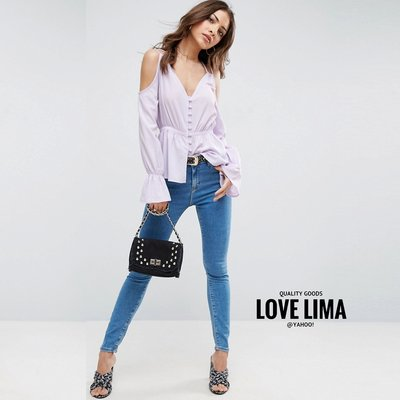 【Love Lima 】英國ASOS 淺紫色浪漫法式包扣襯衫上衣 明星風 B3807 Q