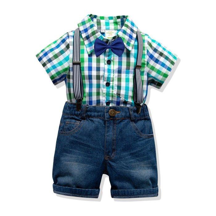 男童 純棉襯衫牛仔背帶套裝  兒童 寶寶格子紳士四件套 童夏套裝