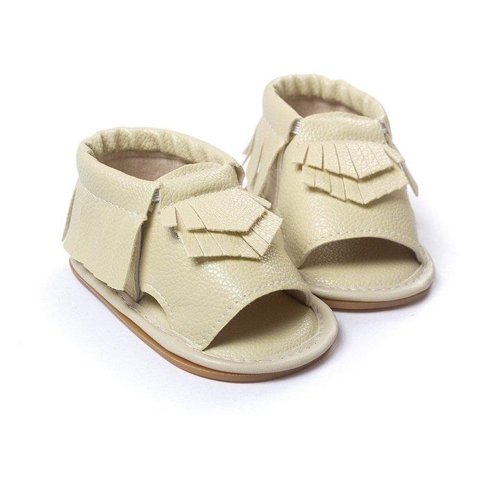 寶貝倉庫~米色流蘇軟膠涼鞋~學步鞋~寶寶鞋~學走鞋~娃娃鞋~幼兒鞋~童鞋~粘扣設計~穿脫方便~彌月贈禮