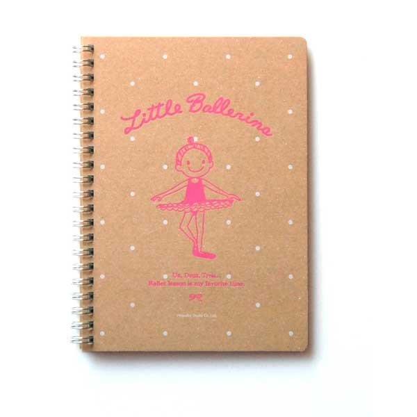 芭蕾小棧生日畢業表演禮物日本進口Little Ballerina文具可愛舞者雜貨風粉紅B6條紋內頁筆記本