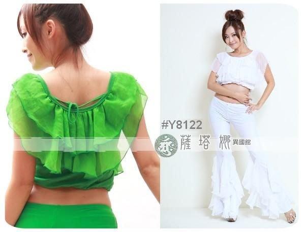 &薩瓦拉:多色(水藍/綠/白/黑/桃缺)_Y8122_雙層不對稱雪紡紗繞頸_短版上衣