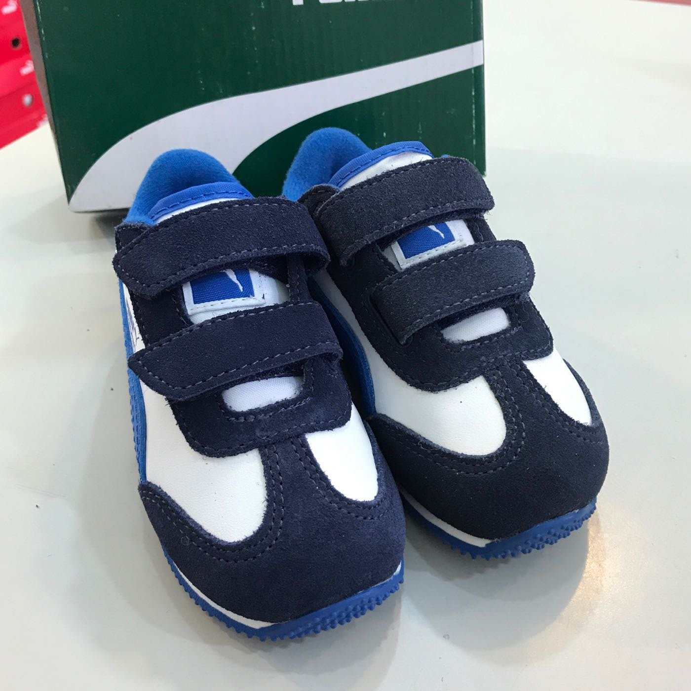 Puma WHIRLWIND L V INF男小童 復古慢跑鞋 藍白 特價販售 35434830