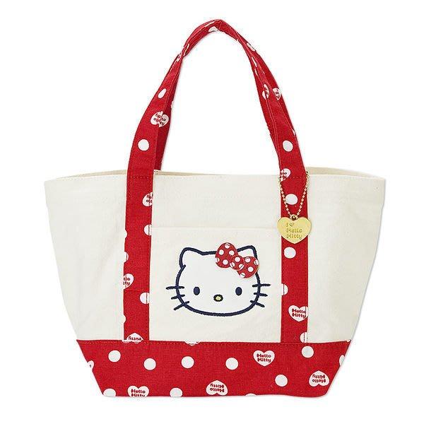 《Greens selection》日本三麗鷗Hello Kitty 凱蒂貓 水玉點點帆布手提托特包