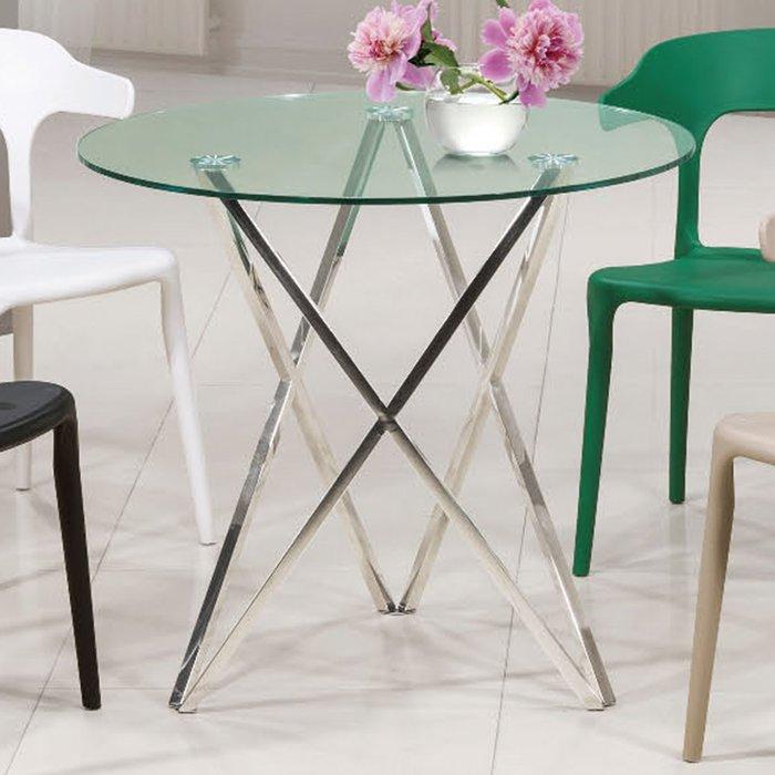 【優比傢俱生活館】19 便宜購-3019不鏽鋼腳2.6尺玻璃休閒圓桌/餐桌 SH826-9