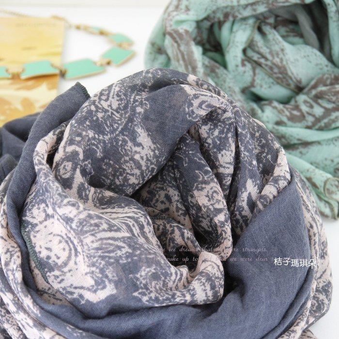 韓國連線 花漾薄毛料長圍巾-桔子瑪琪朵