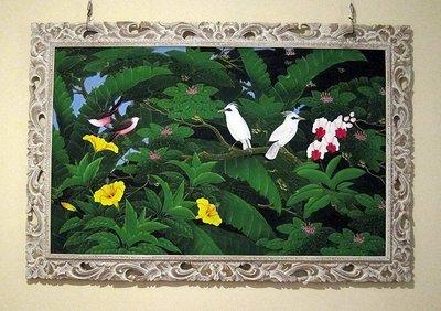 花鳥畫像油畫又像水彩畫的壓克力畫原木雕刻畫框扶桑花鸚鵡熱帶植物峇里島藝術品【心生活美學】