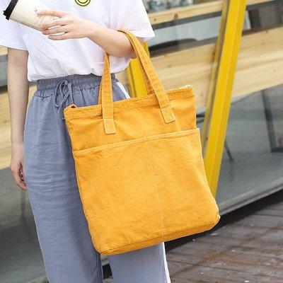 單肩包 帆布 手提包-做舊休閒多口袋棉質女包包4色73wo49[獨家進口][米蘭精品] 高雄市