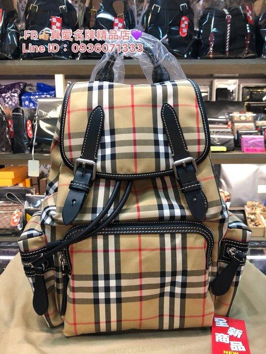 《真愛名牌精品》BURBERRY 4076747 The Rucksack Vintage 格紋中型軍旅背包 *全新代購
