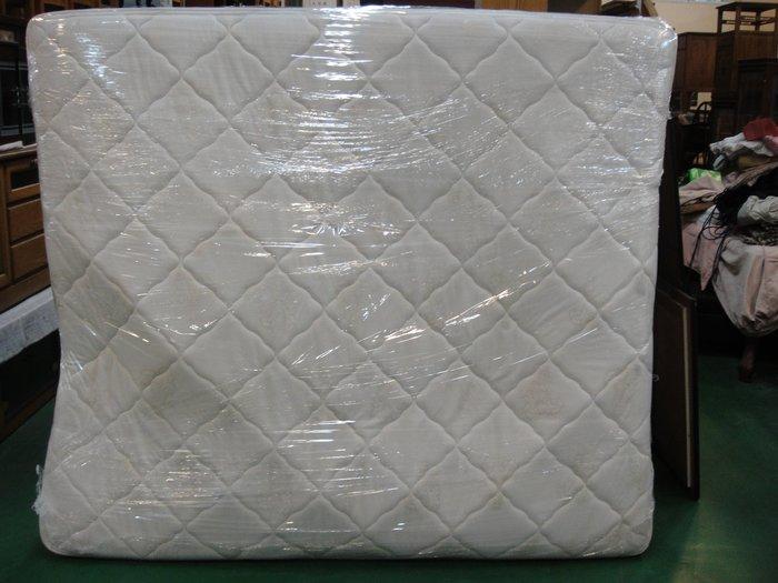 宏品二手家具 傢俱賣場 B308-9米白色雙人加大6*7尺床墊/ 2手臥室寢具拍賣 床底 床箱 床板 床架 大特賣