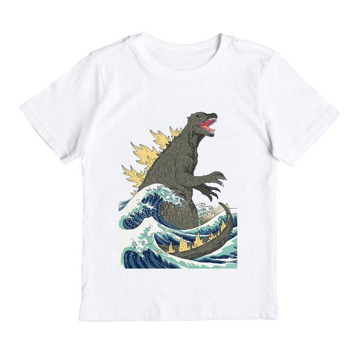 Godzilla Hokusai Monster 兒童短袖T恤 白色 哥吉拉Tokyo 日本 酷斯拉 波浪 恐龍