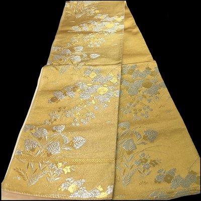 【茶】日本和服腰帶 名古屋帶 袋帶 金系 26-245