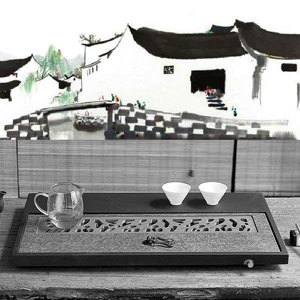 5Cgo【茗道】含稅會員有優惠 553738430913 烏金石茶盤茶壺茶杯泡茶茶具儲水式石頭石材功夫茶台簡約家用黑金石
