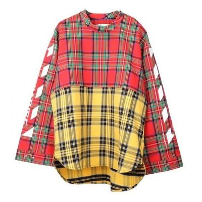 【shiangdian】現貨 OFF WHITE check shirt all over white 長袖 格紋 紅黃