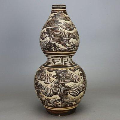 ㊣姥姥的寶藏㊣北宋吉州窑白地皮褐彩海水纹葫芦瓶 古玩 古董