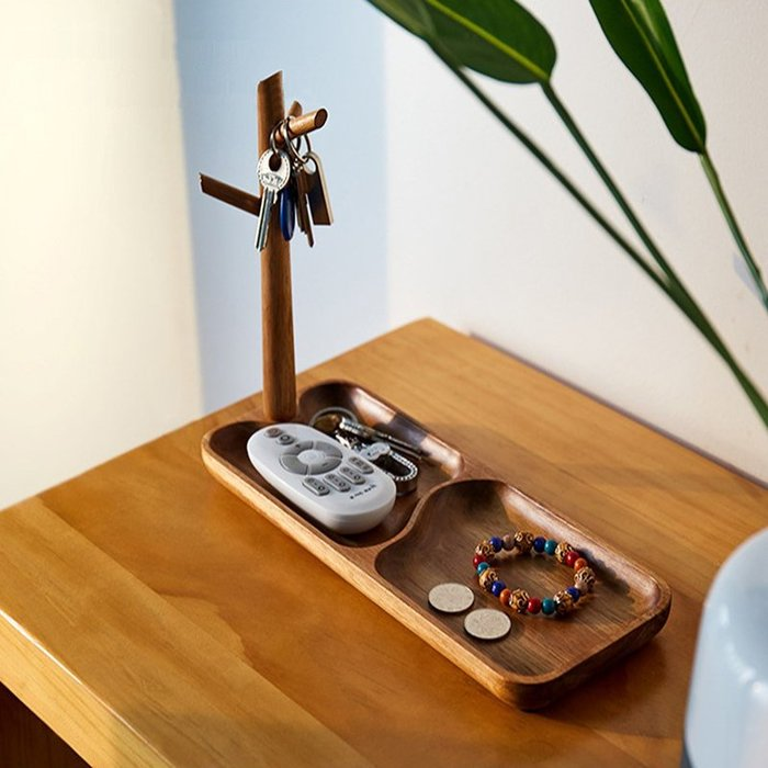 創意家居實木門口玄關鑰匙收納盒鞋櫃客廳桌面置物架掛