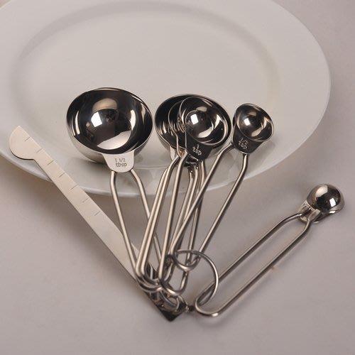 304不銹鋼量勺組 烘焙刻度勺子量匙套裝計量勺實驗勺_☆優購好SoGood☆