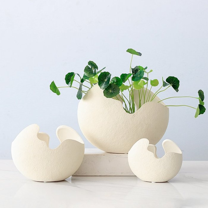 陶瓷蛋殼花瓶 蛋殼花瓶 創意北歐風擺件 客廳花插花套裝餐桌家居裝飾品(中)_☆找好物FINDGOODS ☆
