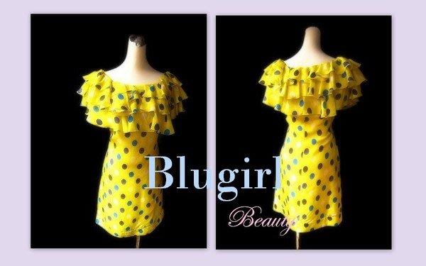 *Beauty*Blumarine  BLUGIRL檸檬黃荷葉領點點絲質雪紡洋裝 I40號 WE11