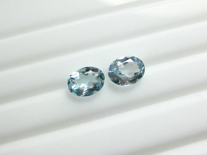 【Texture & Nobleness 低調與奢華】天然寶石 瑞士藍拓帕石 橢圓切割 成對共2.9克拉