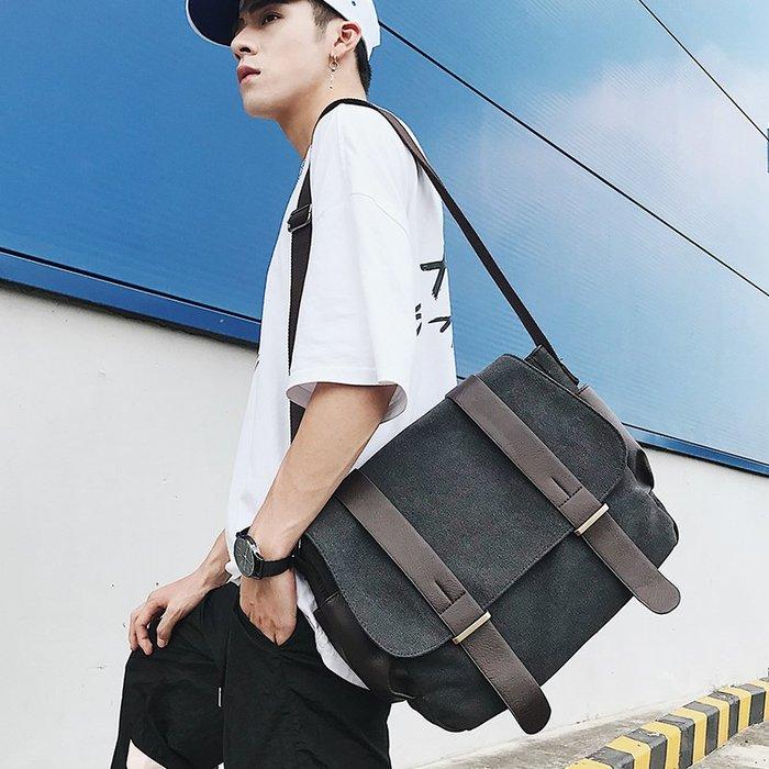 青年側背包韓版男士斜跨旅行休閑街頭斜背包學生書包男包包帆布包 11NLD105