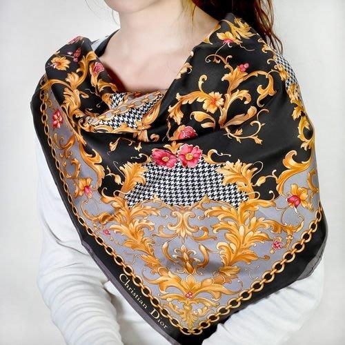 【姊只賣真貨】Christian Dior 古典花紋鎖鍊框邊緞面領帕巾(黑) 母親節情人節送禮禮物自用皆可