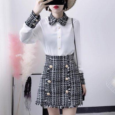 小清新套裝女秋小香風洋氣毛呢短裙女神范兩件套俏皮氣質