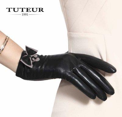 新款手套 冬短款進口羊皮手套 保暖蝴蝶結3151