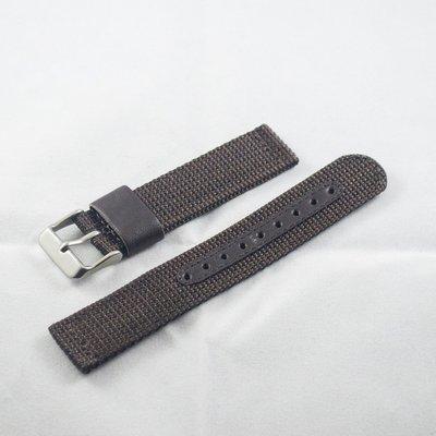 日本進口尼龍錶帶,深咖啡色,不鏽鋼錶釦,18mm