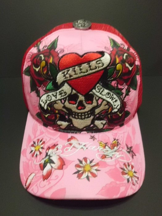 Ed Hardy 帽 現貨 愛殺 四朶玫瑰 骷髏頭 稀有粉色  潮帽 卡車帽 老帽