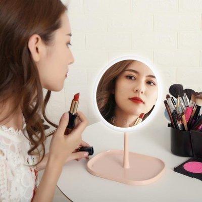 哆啦本鋪 LED化妝鏡帶燈宿舍臺式桌面學生公主梳妝補光大號折疊便攜隨身鏡 D655