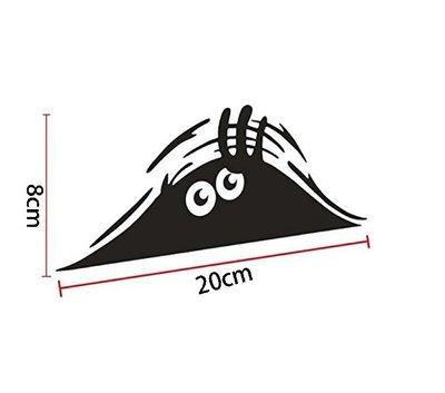 偷看精靈汽車貼紙 Peeking Monster 車貼 汽車裝飾貼紙 個性拉花貼 亮光黑20x8cm