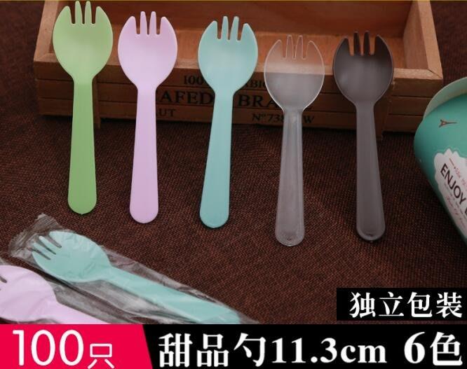 888利是鋪-一次性塑料勺子100只獨立包裝蛋糕甜品叉加厚彩色小叉勺#一次性勺子