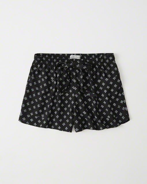 Maple麋鹿小舖 Abercrombie&Fitch * AF 黑色圖樣鬆緊帶口袋短褲 * ( 現貨XS/S號 )