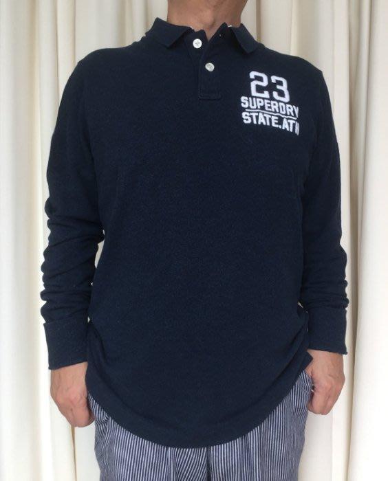 SUPERDRY SD 極度乾燥 長袖 POLO衫 刺繡 LOGO 現貨 麻花藍