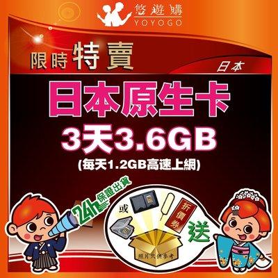 悠遊購 日本 3天3.6GB 每天1.2GB 高速上網 降速 吃到飽 無限流量 上網卡 日本網卡 【Y0307】
