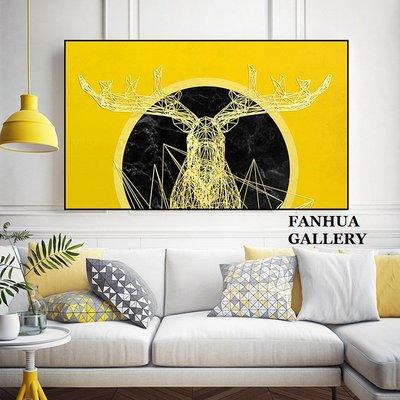C - R - A - Z - Y - T - O - W - N 金色抽象麋鹿掛畫立體視覺裝飾畫現代家居空間設計裝飾畫