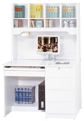 FA-390-2資訊3.5尺白色電腦桌(上+下座)/系統家具/沙發/床墊/茶几/高低櫃/1元起/最低價/高品質